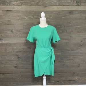 & Other Stories Green Faux Wrap Short Sleeve Dress